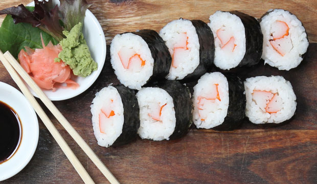 Mock crab sushi available online and instore at The Bagel Co Rose Bay