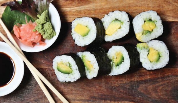 Image of Avocado Sushi Maki roll which is available for online ordering or in-store at The Bagel Co, Rose Bay