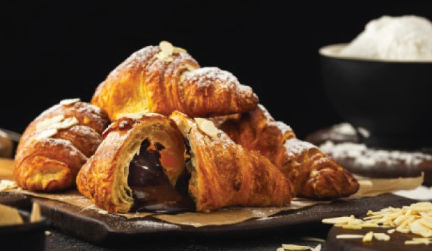 Image of our rich, gooey chocolate to our buttery , tasty and flaky croissants