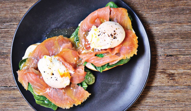 Image of Eggs Benedict that are available from our breakfast menu from The Bagel Co, Rose Bay