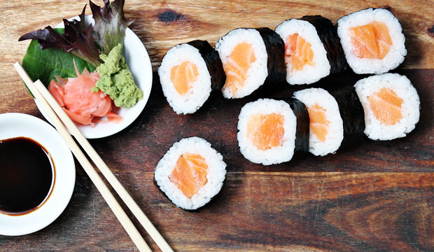 Raw Salmon Sushi available online and instore at The Bagel Co Rose Bay
