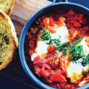 Shakshuka and Bagel breakfast from The Bagel Co - Rose Bay and Eastern Suburbs
