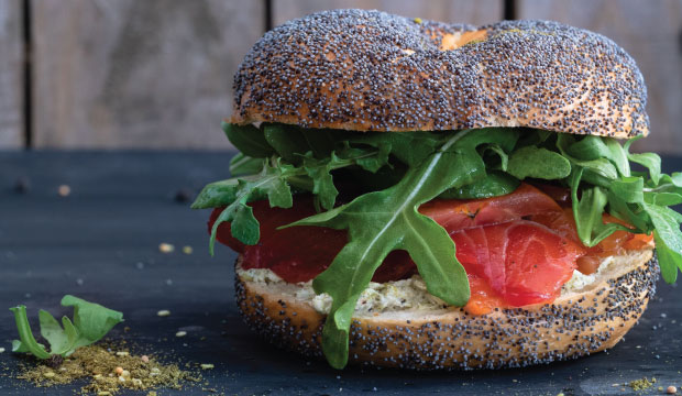Smoked salmon filled bagel from The Bagel Co Rose Bay.