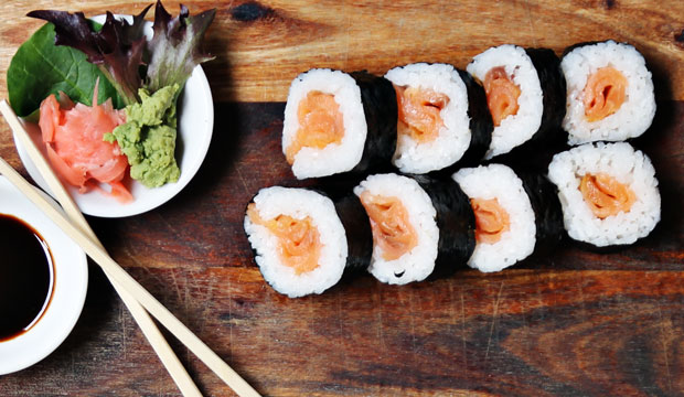 Smoked Salmon Sushi available online and instore at The Bagel Co Rose Bay