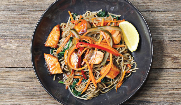 Image of Soba noodles with Teriyaki Salmon. This item is available from our Lunch menu at The Bagel Co. in Rose Bay