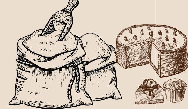 Drawing of sacks of sugar from The Bagel Co Rose Bay