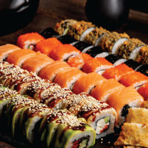 Deluxe sushi platter for Rosh Hashana from The Bagel Co Rose Bay